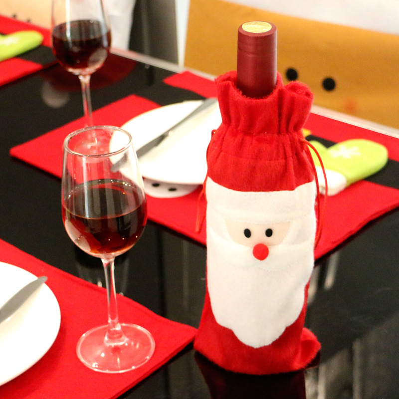 Christmas Red Wine Bottle Cover Bags Santa Clause Clothing Dinner Table Party Decors Santa Claus Christmas