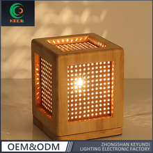 New modern fashion Oak color Bar Table Light square vintage wood cage table lamp for bedroom