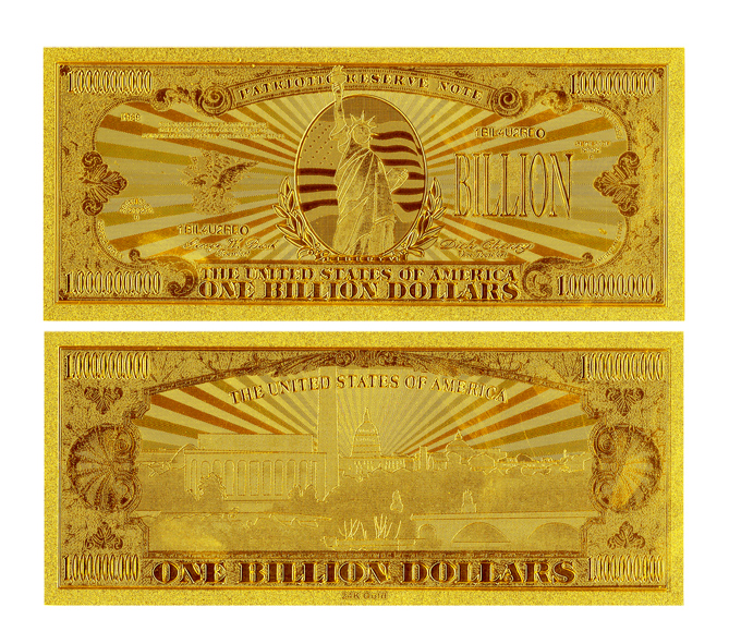 Decorative Art American Bill $1 Billion Dollar Gold Bank Notes for Home & Office Decoration