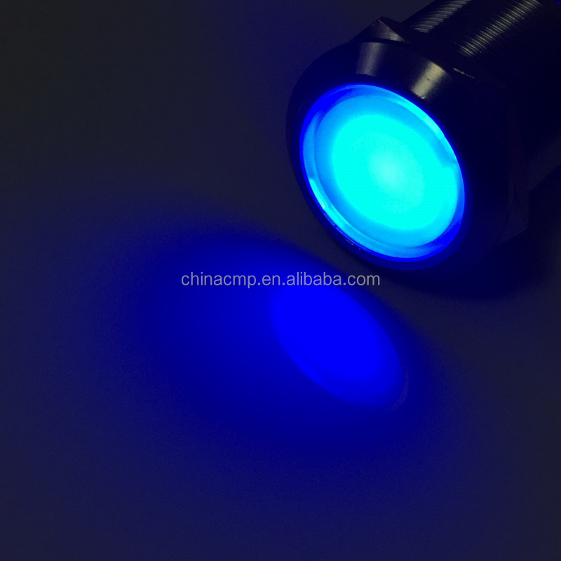 Export 22mm CMP brand stainless steel latching push button 12v 24v blue eagle eye led illuminated automotive switch