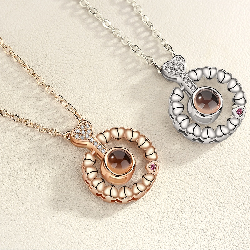 Ladies Fashion Jewelry Zircon Circle 100 Languages I Love You Pendant Necklace
