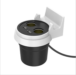 Cup Shape Two Socket Car USB Power Supply Charger And Holder with Cigarette Lighter for Phone GPS IPAD PDA
