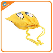Cartoon character low MOQ cheap price cotton material drawstring pouch bag