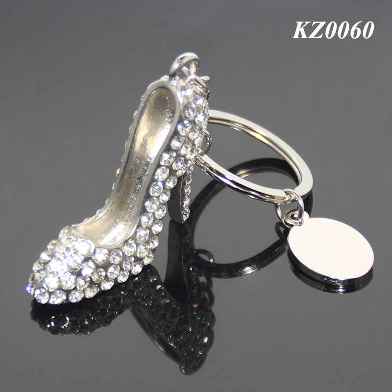 Alloy New High Heel Shoe Keychain White Rhinestone Woman Bag Charms Keyrings Fashion Crystal Metal High Heel Key Chain