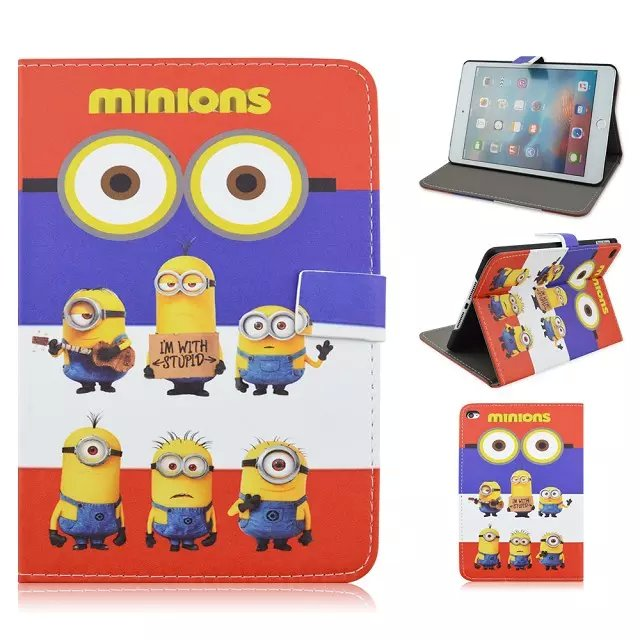 Despicable Me Minion Print Leather Flip Stand Back Case For iPad Mini 4