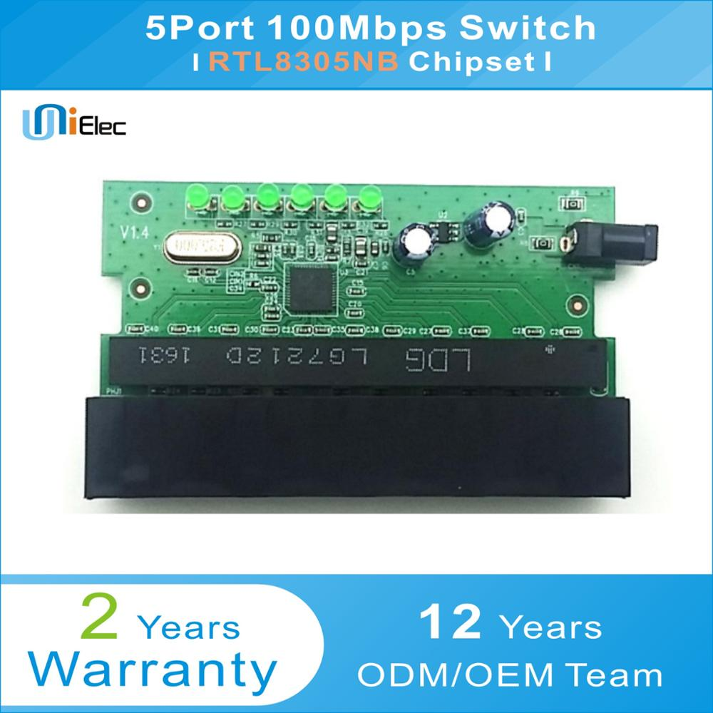 RTL8305NB 5 Port unmanaged Ethernet Network Switch PCBA OEM ODM Custom 100Mbps Board 100M RTL8305