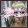 Pretty pink & silver Feather Masquerade Masks - party favor