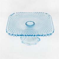 Depression glass serving dish blue candy dish pedestal cake plate