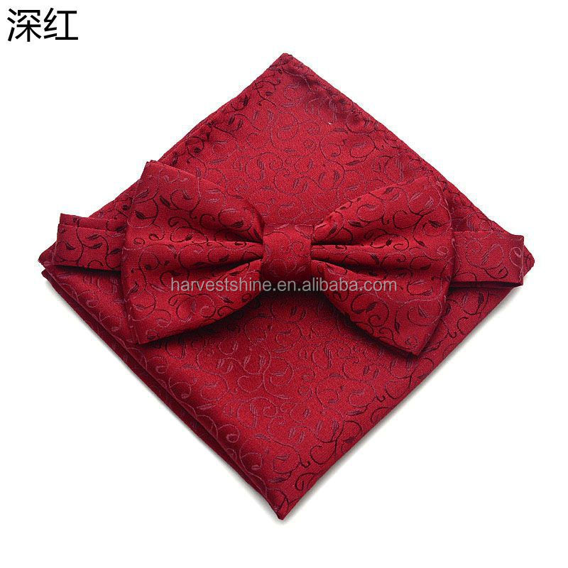 fashion men bow tie and pocket for wedding suit,scalloped flower printed bowties