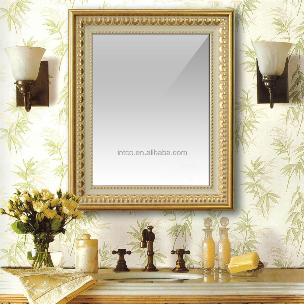 INTCO golden wall bathroom mirror frame and decorative mirror
