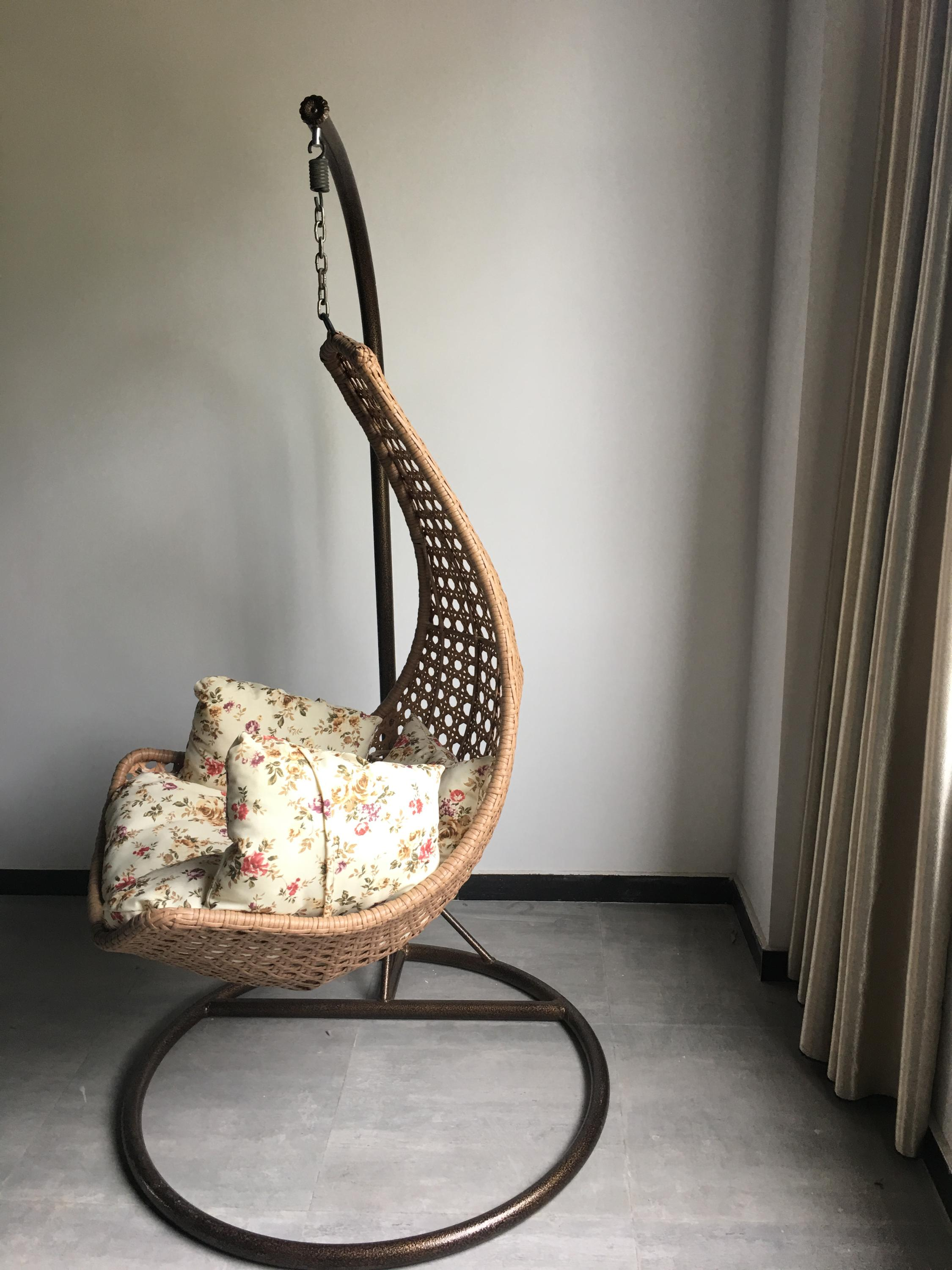 Swing Chair-Single seat hanging egg rattan leisure swing chair