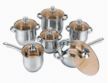 12pcs stainless steel parini happy baron kitchen ware cookware set