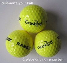 top quality yellow 2 piece driving range golf ball