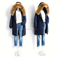 2017/2018 Hot Sale Winter Parkas Coat with Real Detachable Raccoon Fur Hooded Trim