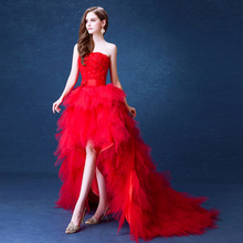 ZH0093J Best selling lace red christmas wedding dresses with long tail