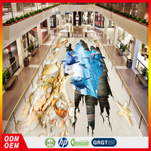 3d undersea animals beach and shell epoxy 3d floor sticker for the Mall