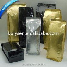 black coffee bags that hold 300-500G with gas valve and printed on the package