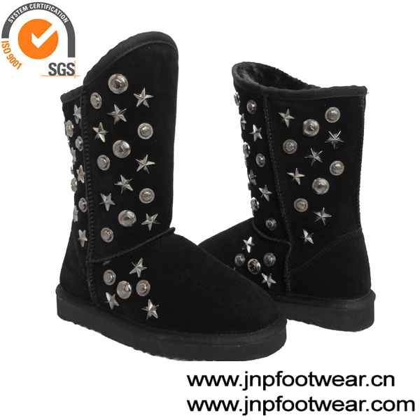 Black leather studded snow boots women shoes