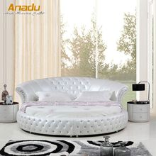 Super king size modern round leather soft bed BY8219