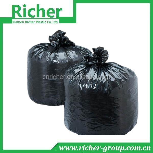 large size black color industrial plastic hdpe poly garbage bags
