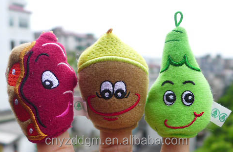 kids educational puppet toy/fruits plush finger puppets for kids/mini finger plush toy