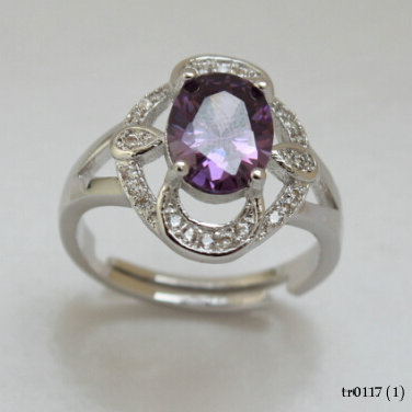 Fashion 925 Silver Jeweled Purple Oval CZ Stone Adjustable Rings