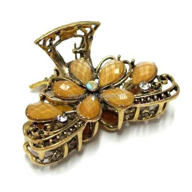 New Design Vintage Flower Hair Jewelry Antique Gold Big Flower Hair Clip Crystal Hair Claws