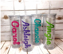 Personalized wholesale double wall transparent acrylic starbucks plastic sippy mug tumbler with straw and lid