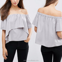 Fashion Latest Design Girls Cheap Chiffon Ruffle Off Shoulder Tiered Top Women 2016