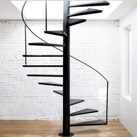 New design handrail customize wood stair banister steel spiral stairs