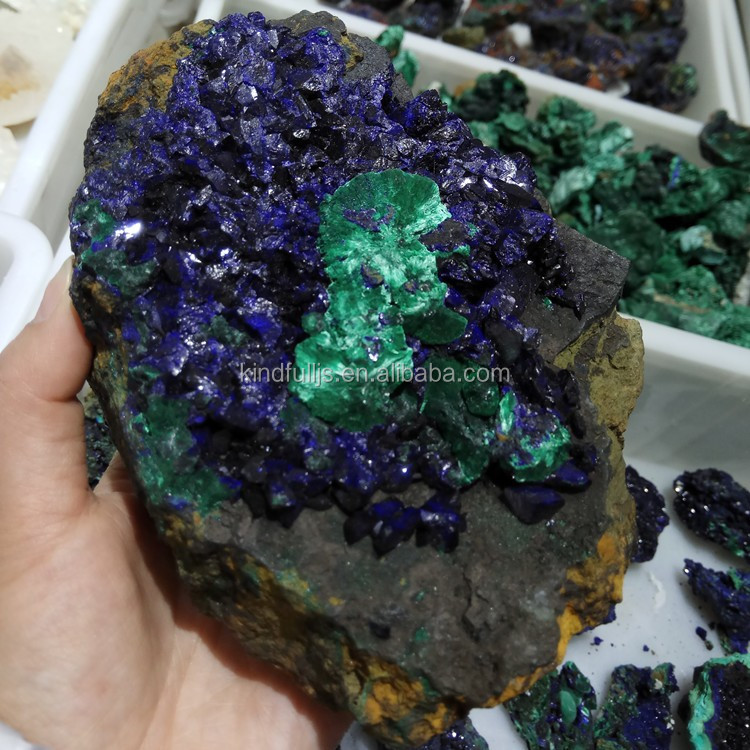 Natural azurite and green malachite mineral specimen azurite specimen