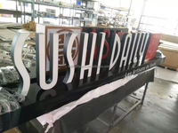 Frontlit indoor epoxy resin stainless steel returns LED light up marquee letters acrylic led sign wood carving letters display