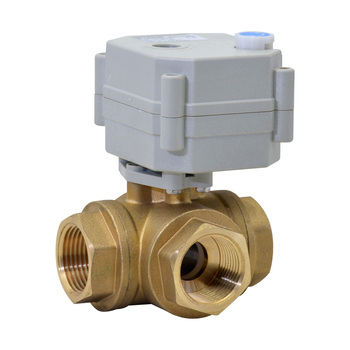 Tonhe 3/4'' DN20 3-way Horizontal Brass Electric Ball Valve High Quality with Manual Override