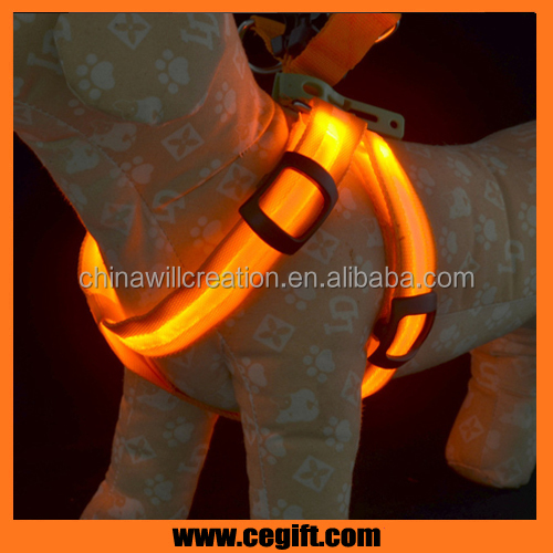 Pet Dog Collar LED harness dog Leads Light Jacket led body harness