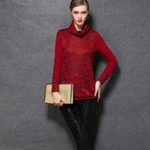 WA2009 thicken turtleneck plus size two colors high-end lace blouses
