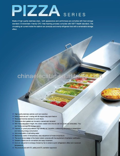 stainless steel pizza preparation refrigerator/restaurant kitchen equipment/pizza counter with ETL Certification, CFC-free