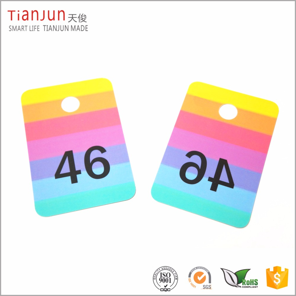 Custom size plastic numbered card hanger tags with 12.7mm hole