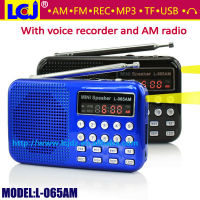 Genuine L-065AM portable mini MP3 player AM FM radio voice recorder speaker