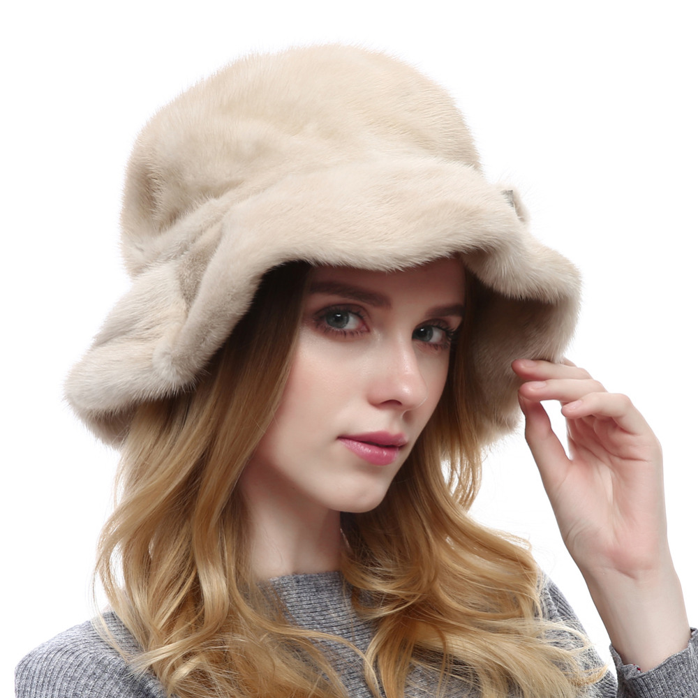 FH006 2017 new fashion faux fur shole skin mnk coffe and beige color winter lady hat