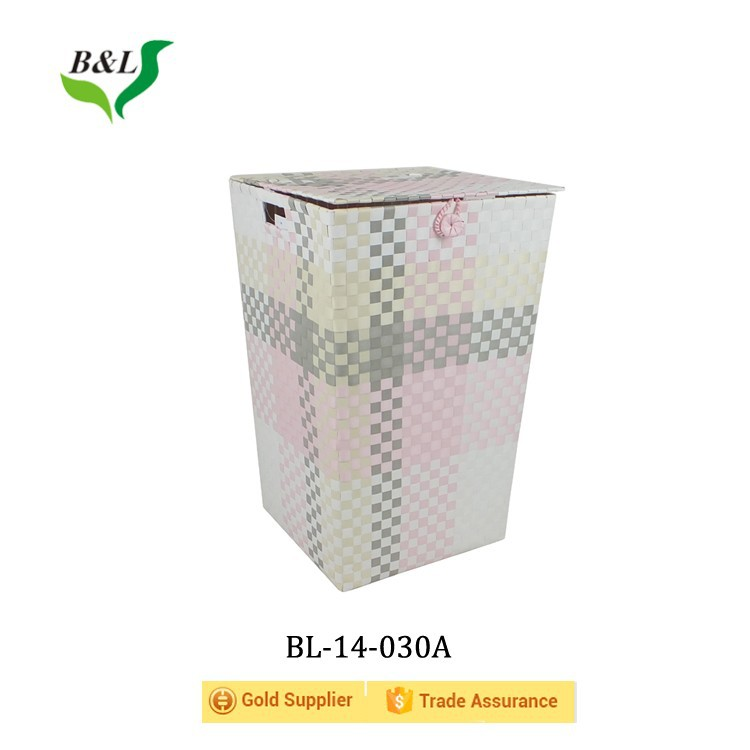 Multipurpose colorful pp strip woven huge basket /bin over a powder coated iron frame for laundry 14030
