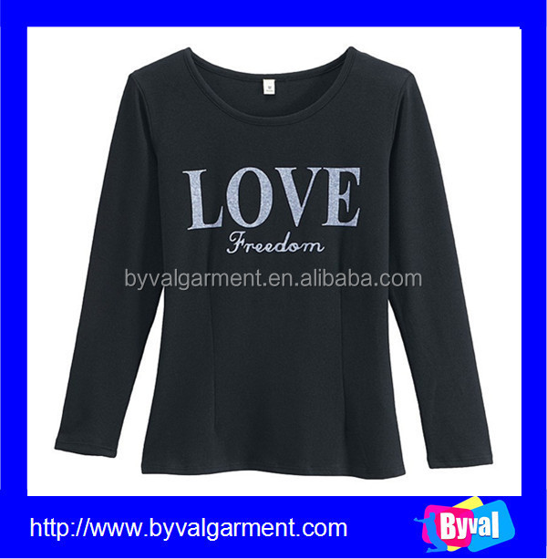 China apparel manufacturers wholesale womens custom long sleeves black apparel t shirt printing