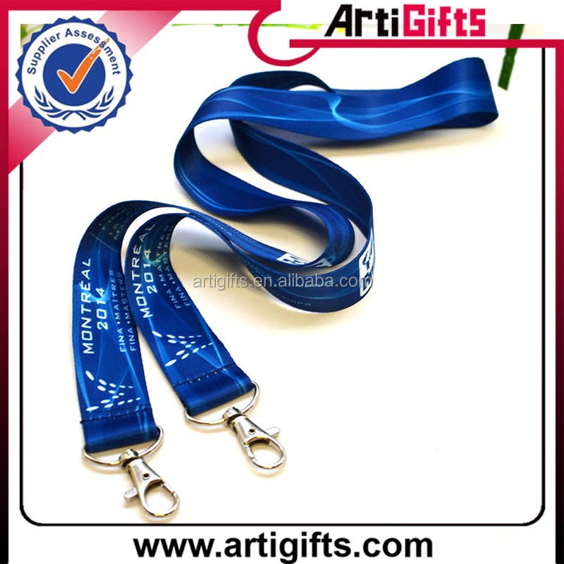 Promotion cheap polyester lanyard strap keychain