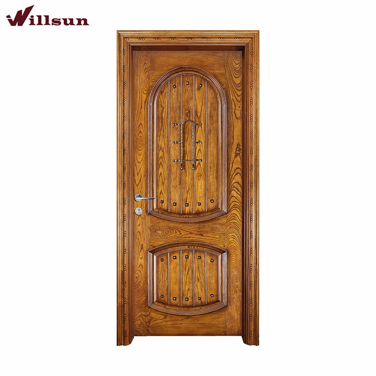 Turkey Iron Decoration 2 Panel Teak Wood Main Entrance Door