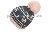 Knitted children jacquard hat with pom