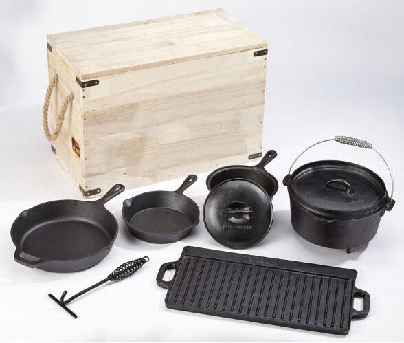 Cast iron camping cookware set with wooden box