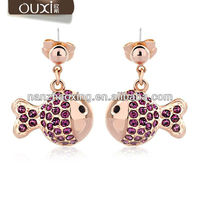 2015 fashion trendy color diamond jewelry fish shape earrings