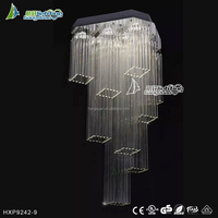 Square hotel chandelier clear crystal pendant light modern HXP9242-9