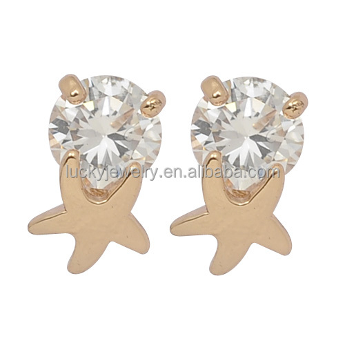 High Quality Fashion Diamond Gemstone Stud Earrings with White Sigle Big Stone for Wholesale