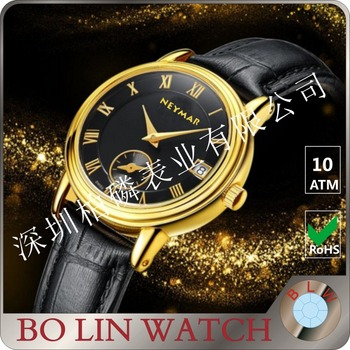 Custom brand 18K mens real gold watches