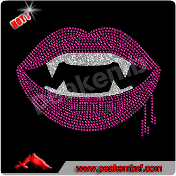 Hot Sale Evil Lips Rhinestone Iron On Designs Wholesale Applique